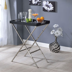 My Decor Center - Lajos Tray Table (Black & Brushed Nickle)