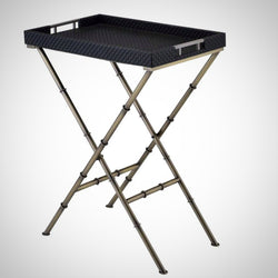 My Decor Center - Lajos Tray Table (Black Weave & Antique Gold)