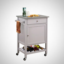 My Decor Center - Free Ground Shipping - Acme Furniture, Serving Cart, Hoogzen - Kitchen Cart (Stainless Steel & Gray)