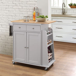 My Decor Center - Tullarick Kitchen Cart (Stainless Steel & White)