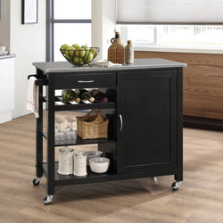 My Decor Center - Ottawa Kitchen Cart (Stainless Steel & Black)