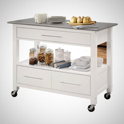 My Decor Center - Ottawa Kitchen Cart (Stainless Steel & White)