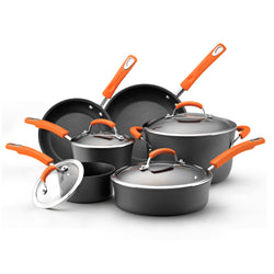 10pc Cookware Set - Hard Anodized (Orange)