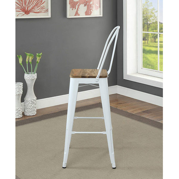 My Decor Center - Jakia II Bar Armless Chair (White & Natural)