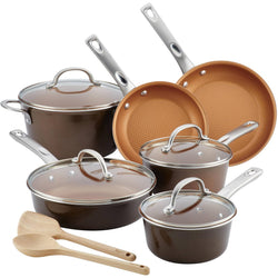Home Collection Aluminum 12-Piece Cookware Set - Brown Sugar