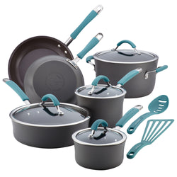 12-Pc Cucina Hard Anodized Cookware Set (Agave Blue)