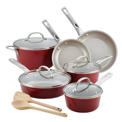 Home Collection Aluminum 12-Piece Cookware Set - Sienna Red