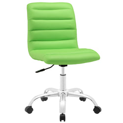 Ripple Armless Mid Back Vinyl Office Chair (Bright Green)