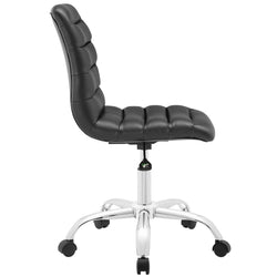 Ripple Armless Mid Back Vinyl Office Chair (Black)
