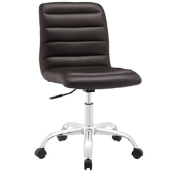 Ripple Armless Mid Back Vinyl Office Chair (Brown)