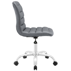Ripple Armless Mid Back Vinyl Office Chair (Gray)