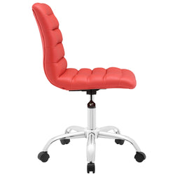 Ripple Armless Mid Back Vinyl Office Chair (Red)