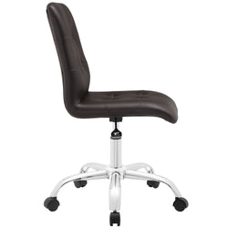 Prim Armless Mid Back Office Chair (Brown)
