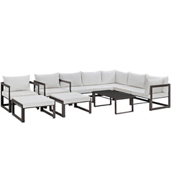 Fortuna 10 Piece Outdoor Patio Sectional Sofa Set (Brown White)