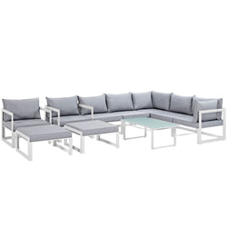 Fortuna 10 Piece Outdoor Patio Sectional Sofa Set (White Gray)