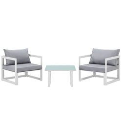 Fortuna 3 Piece Outdoor Patio Sectional Sofa Set (White Gray)