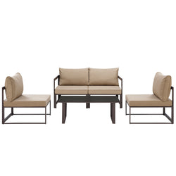 Fortuna 5 Piece Outdoor Patio Sectional Sofa Set (Brown Mocha)