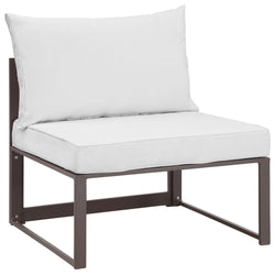 Fortuna 5 Piece Outdoor Patio Sectional Sofa Set (Brown White)