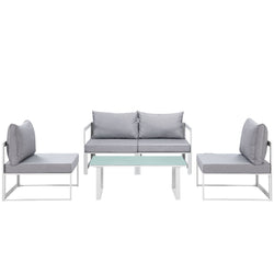 Fortuna 5 Piece Outdoor Patio Sectional Sofa Set (White Gray)