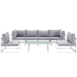 Fortuna 7 Piece Outdoor Patio Sectional Sofa Set (White Gray)