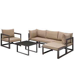 Fortuna 6 Piece Outdoor Patio Sectional Sofa Set (Brown Mocha)