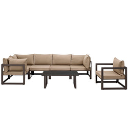 Fortuna 7 Piece Outdoor Patio Sectional Sofa Set (Brown Mocha)