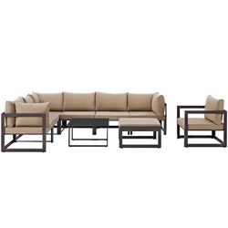 Fortuna 9 Piece Outdoor Patio Sectional Sofa Set (Brown Mocha)