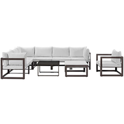 Fortuna 9 Piece Outdoor Patio Sectional Sofa Set (Brown White)