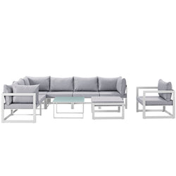 Fortuna 9 Piece Outdoor Patio Sectional Sofa Set (White Gray)