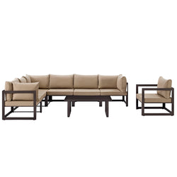 Fortuna 8 Piece Outdoor Patio Sectional Sofa Set (Brown Mocha)