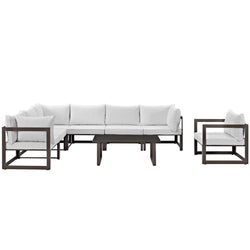 Fortuna 8 Piece Outdoor Patio Sectional Sofa Set (Brown White)