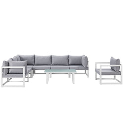 Fortuna 8 Piece Outdoor Patio Sectional Sofa Set (White Gray)