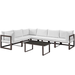 Fortuna 7 Piece Outdoor Patio Sectional Sofa Set (Brown White)