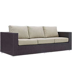 Convene Outdoor Patio Sofa (Espresso Beige)