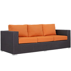 Convene Outdoor Patio Sofa (Espresso Orange)