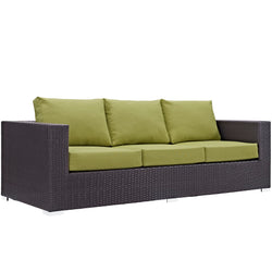 Convene Outdoor Patio Sofa (Espresso Peridot)