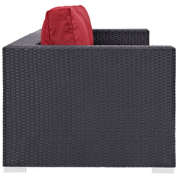 Convene Outdoor Patio Sofa (Espresso Red)