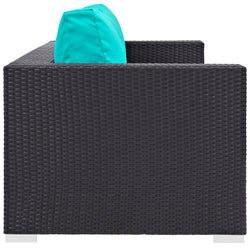Convene Outdoor Patio Sofa (Espresso Turquoise)