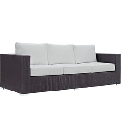 Convene Outdoor Patio Sofa (Espresso White)