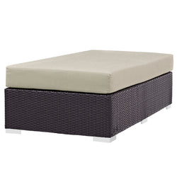 Convene Outdoor Patio Fabric Rectangle Ottoman (Espresso Beige)