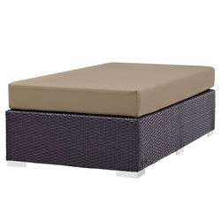 Convene Outdoor Patio Fabric Rectangle Ottoman (Espresso Mocha)
