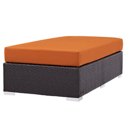Convene Outdoor Patio Fabric Rectangle Ottoman (Espresso Orange)