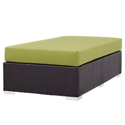 Convene Outdoor Patio Fabric Rectangle Ottoman (Espresso Peridot)