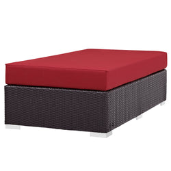 Convene Outdoor Patio Fabric Rectangle Ottoman (Espresso Red)