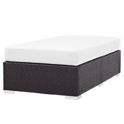 Convene Outdoor Patio Fabric Rectangle Ottoman (Espresso White)