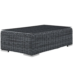 Summon Outdoor Patio Glass Top Coffee Table (Gray)