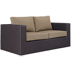 Convene Outdoor Patio Loveseat (Espresso Mocha)