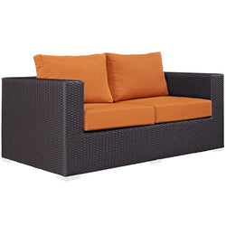 Convene Outdoor Patio Loveseat (Espresso Orange)