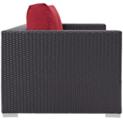 Convene Outdoor Patio Loveseat (Espresso Red)