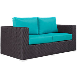 Convene Outdoor Patio Loveseat (Espresso Turquoise)